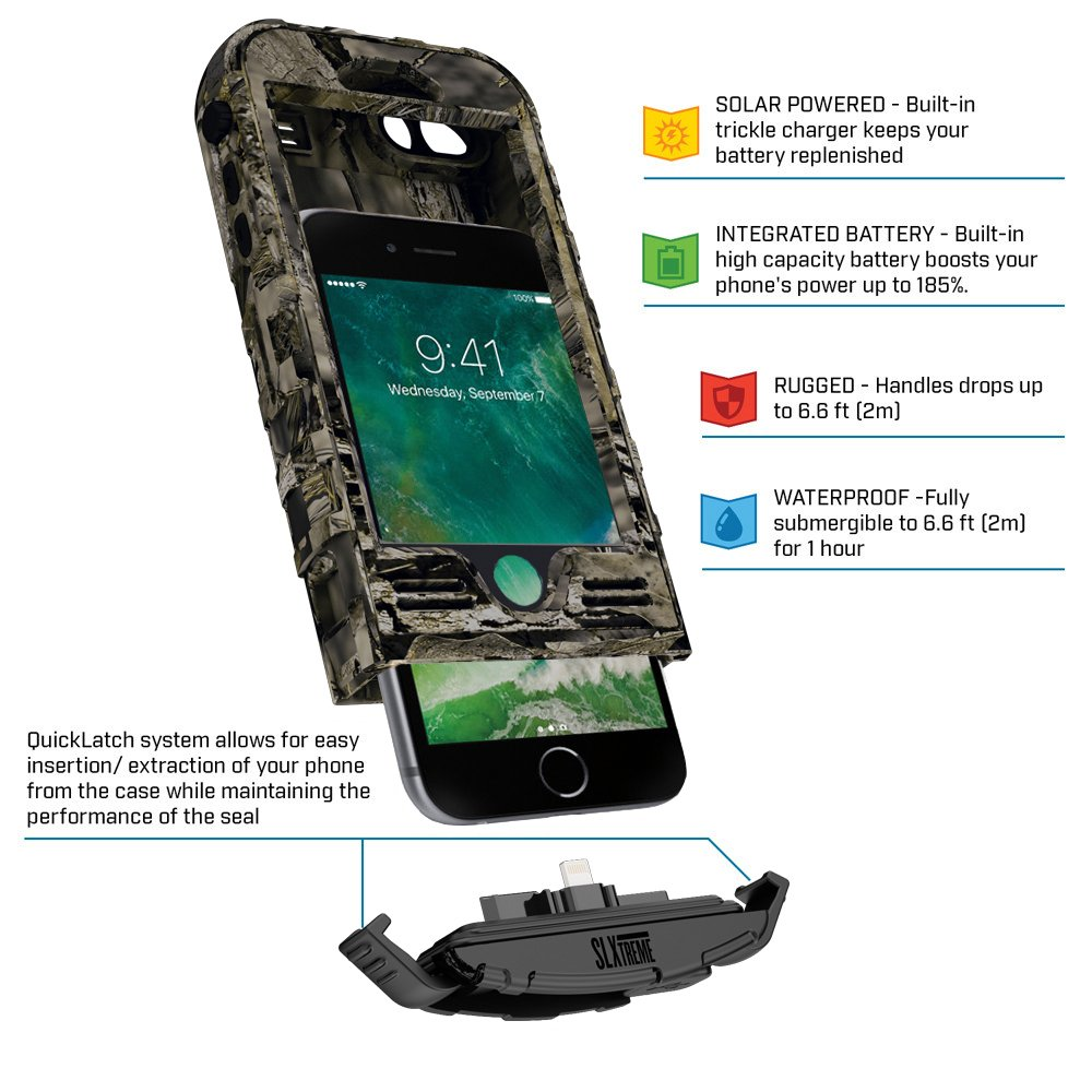 SnowLizard SLXtreme iPhone 8 Case. Solar Powered, Rugged and Waterproof with a built in Battery - Mossy Oak by Snow Lizard Products (Image #3)