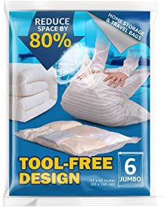 Vacuum Storage Bags,Space Saver Bags for Comforters Blankets Clothes Pillows Travel Space Saver Vacuum Seal Bag No Pumps Needed 6 Jumbo