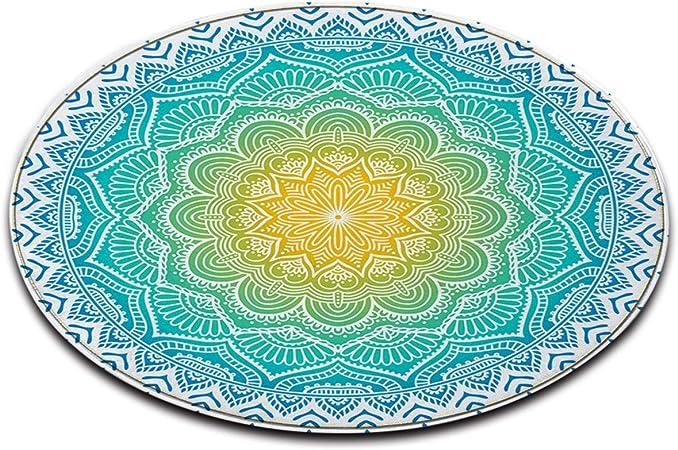 LB Bleu,Blanc,Inde,Mandela_Round Zone Tapis Salon Chambre à Coucher Salle  de Bains Cuisine Tapis de Sol décoration d\'intérieur,100x100 CM