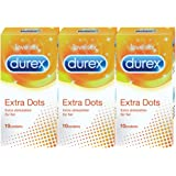 Durex Condoms - 10 Count (Pack of 3, Extra Dots)