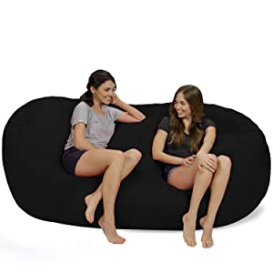 Chill Sack Bean Bag Chair: Huge 7.5' Memory Foam Furniture Bag and Large Lounger - Big Sofa with Soft Micro Fiber Cover - Black