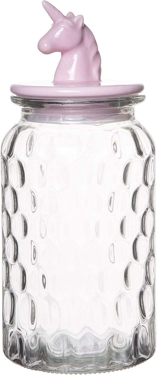 Red Co. Large Food Storage Rain Drop Pattern Glass Jar Canister with Pink Unicorn Shaped Ceramic Airtight Lid, 43.25 Ounces