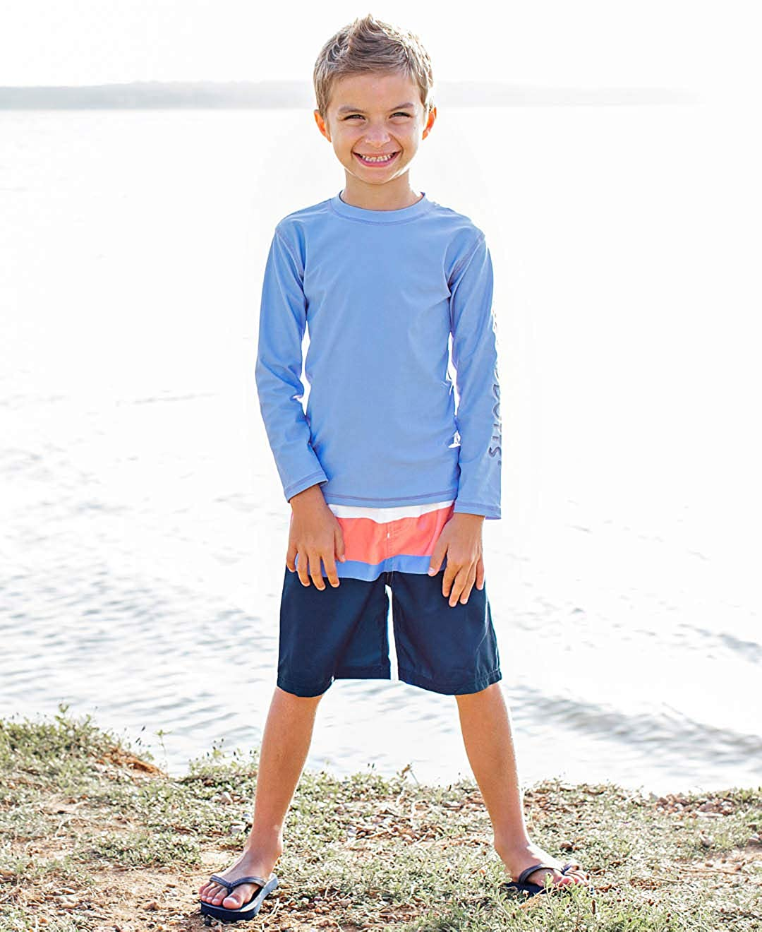 RuggedButts Baby//Toddler Boys Long Sleeve Rash Guard Swim Shirt w//UPF 50+