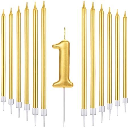 Conjunto de 21 Velas de Tarta de Feliz Cumpleaños Incluye Vela de Número Metálicas, 20 Velas de Cumpleaños Largas Doradas para Boda Cumpleaños ...