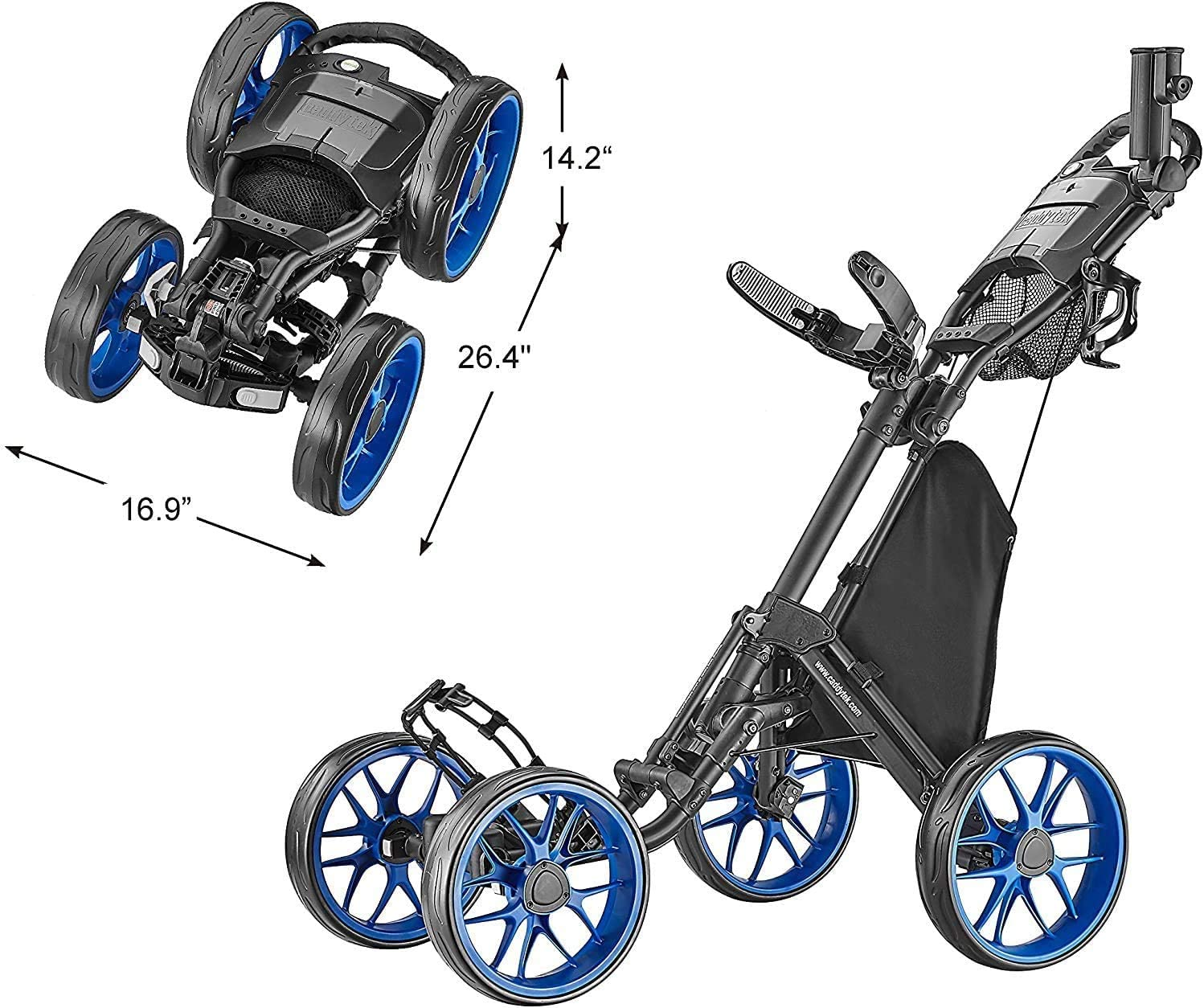 CaddyTek 4 Wheel Golf Push Cart Caddycruiser One