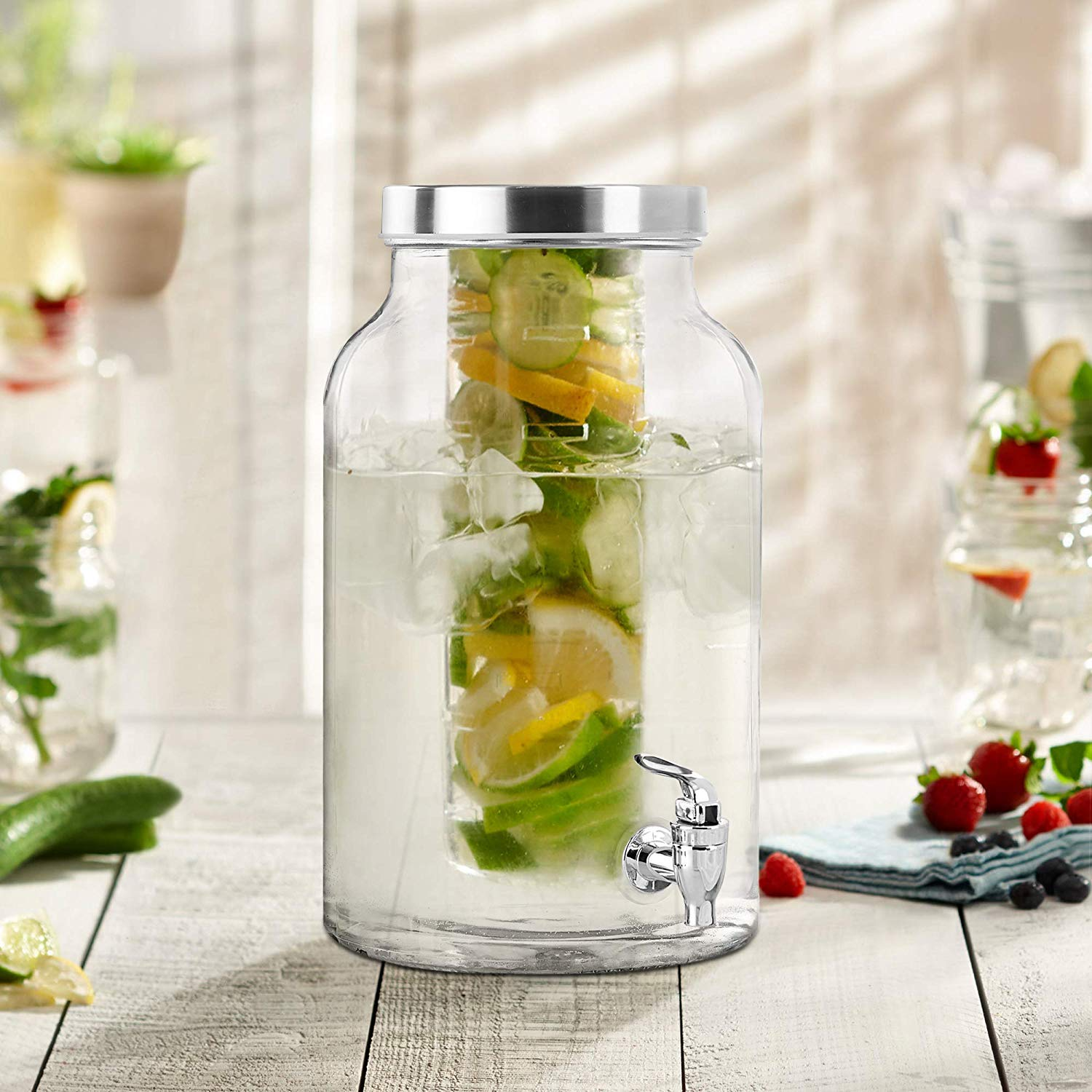 Glass Drink Dispenser with Fruit & Ice-Infuser - Stainless Steel Spigot | 2 Gallon