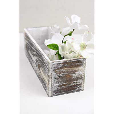 "Richland Planter Boxes White Washed Wood 4"" x 12"" : Garden & Outdoor"
