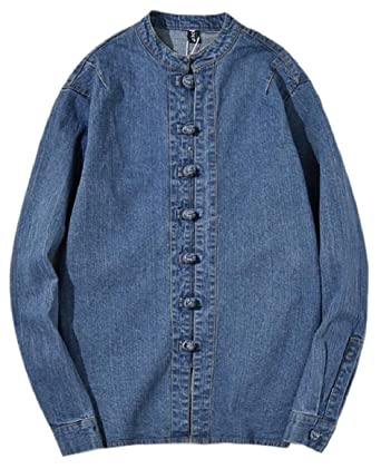 92ca118dc2 Smeiling Mens Denim Stand Collar Frog Button Long Sleeve Shirt Blue XXS
