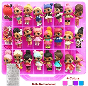 HOME4 LOL Double Sided Storage Container - No BPA - Organizer Case - 48 Compartments - Compatible with Dolls LOL lils, Pets, Surprise Tiny Toys, Shopkins, Accessories, Beads, Crafts (Pink)