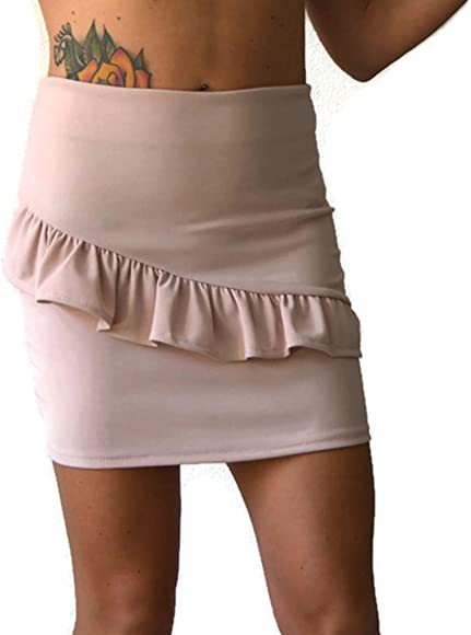 Mini falda rosa con volantes, mujer: Amazon.es: Ropa y accesorios