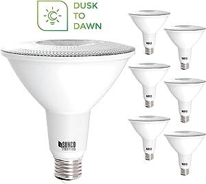 Sunco Lighting 6 Pack PAR38 LED Bulb with Dusk-to-Dawn Photocell Sensor, 15W=120W, 5000K Daylight, 1250 LM, Auto On/Off, Security Flood Light Indoor/Outdoor - UL