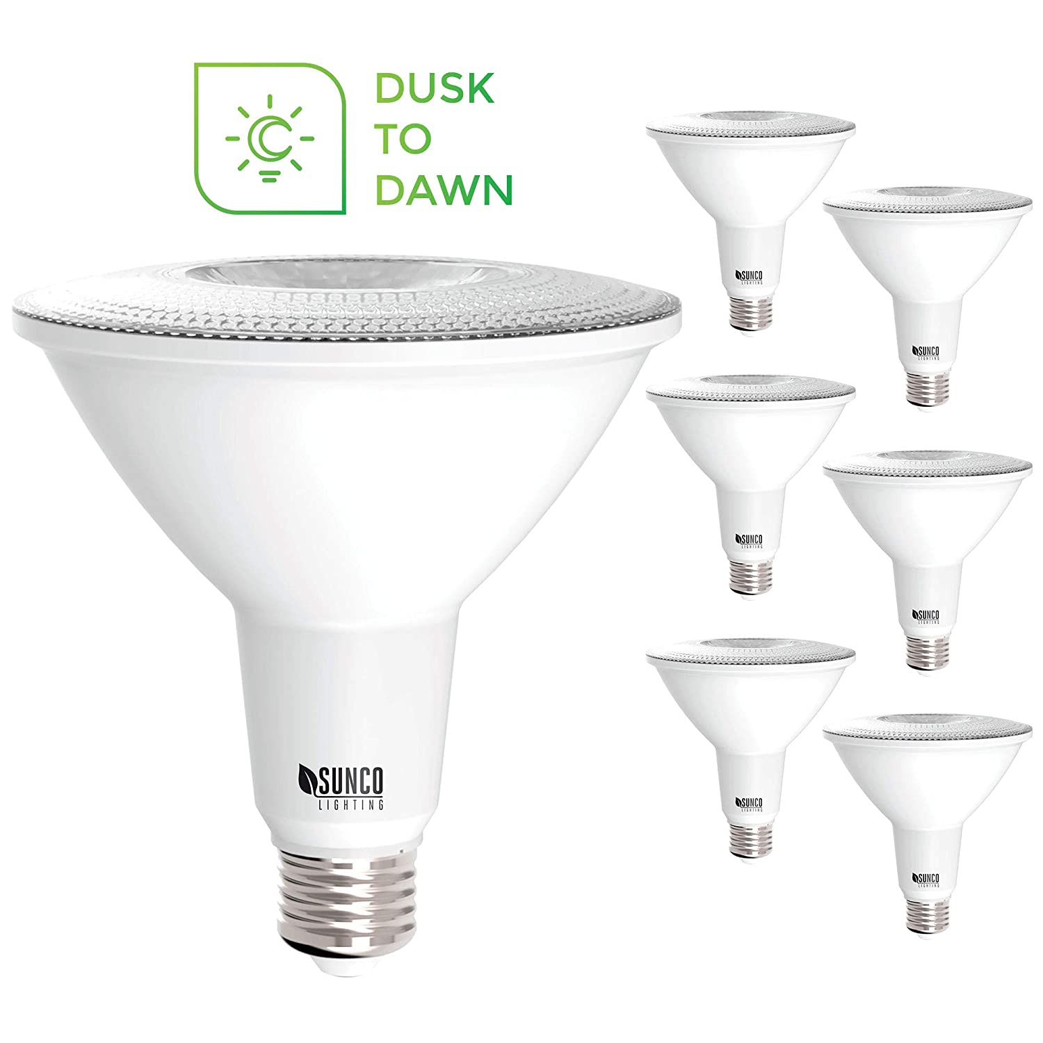 Sunco Lighting 6 Pack PAR38 LED Bulb with Dusk-to-Dawn Photocell Sensor, 15W=120W, 6000K Daylight Deluxe, 1250 LM, Auto On/Off, Security Flood Light Indoor/Outdoor - UL
