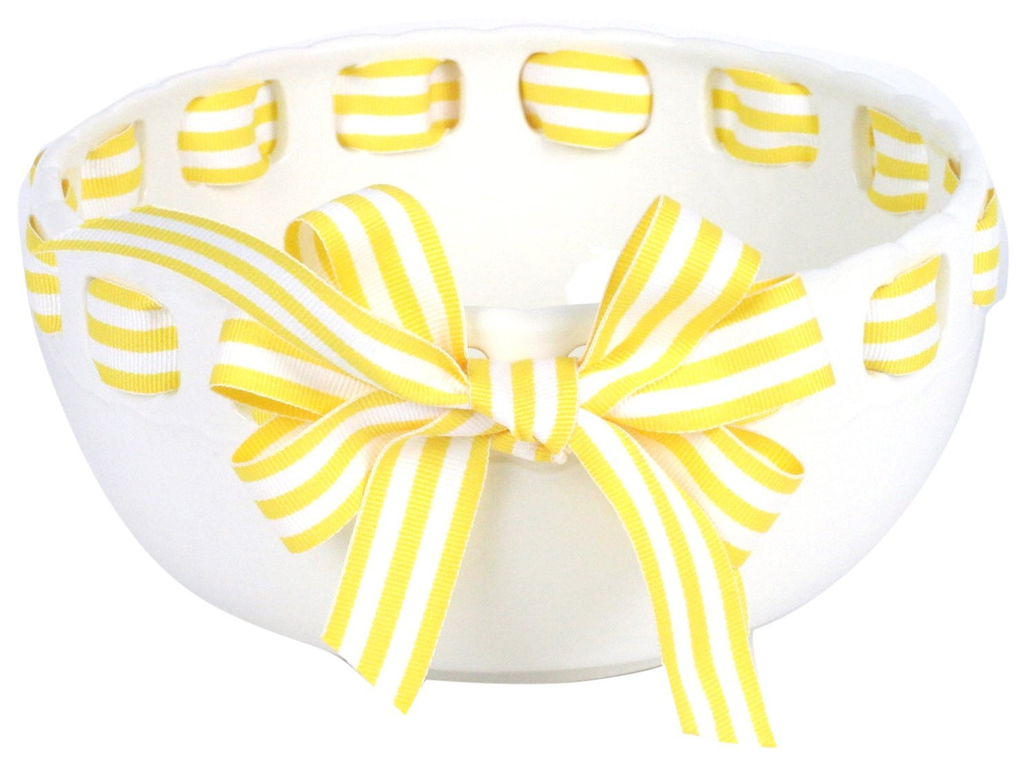 Prissy Plates 23001B-167 Decorative Serving Bowl with Yellow/White Stripe Ribbon, White