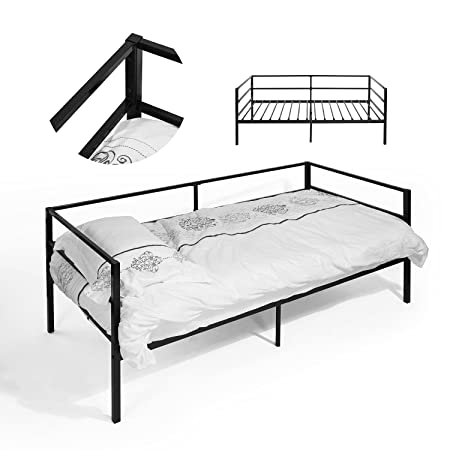 Folding 3ft Single Metal Day Bed Only Sofa Bed Guest Bed Stable Bed Frame Black