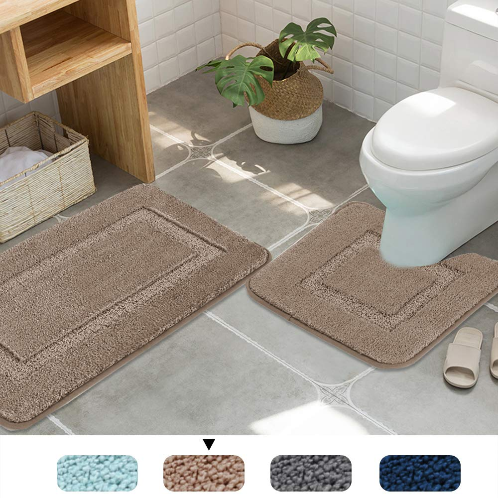 Machine-Washable Fast Dry H.VERSAILTEX Updated Bath Rugs Slip-Resistant Shag Bath Mat Extra Soft and Absorbent Gray, 32 x 20 Plus 24 x 17 - Inches Set of 2
