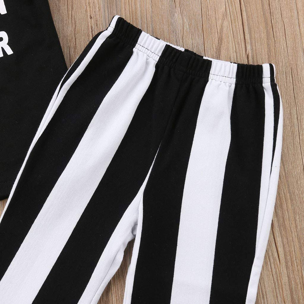 MOGOV Baby Girls Summer Leisure Fly Sleeve Letter Print T-Shirt Tops+Stripe Pants Set Work Clothes Outfits