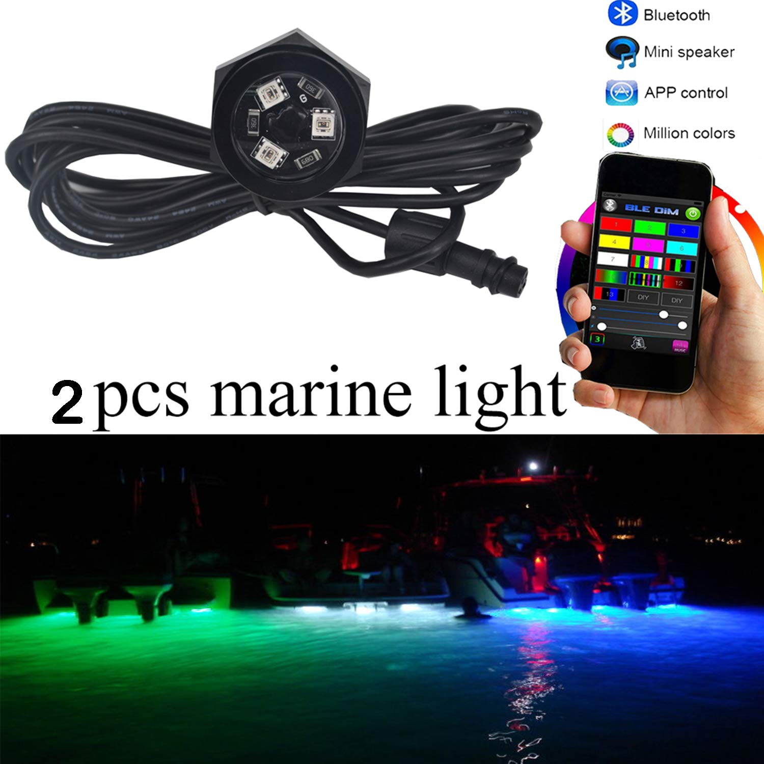 NBWDY 2Pcs LED Boat Drain Plug Underwater Light, 3X3W/12V, 50000hr Lifespan,Garber-Fishing, Swimming, Diving, 1/2'' NPT,RGB with Bluetooth Remote Controller by NBWDY