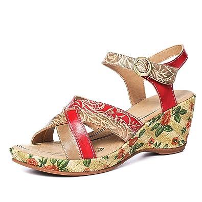 5876a4bd0b17 Gracosy Sandales Compensées Femmes Cuir, Chaussures Été à Talons Compensés  Semelle Confortable Nu Pieds Bride