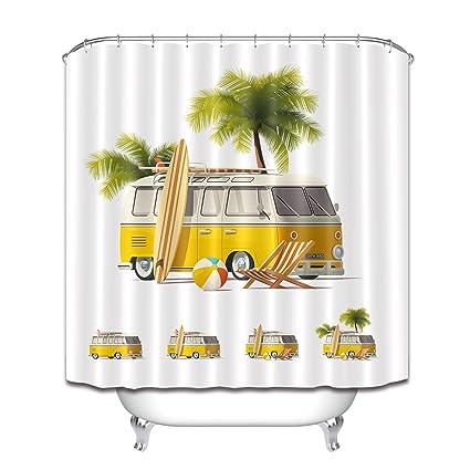 LB RV Summer Beach Chair Palm Tree Surf Board Shower Curtains For Bathroom Water Sports