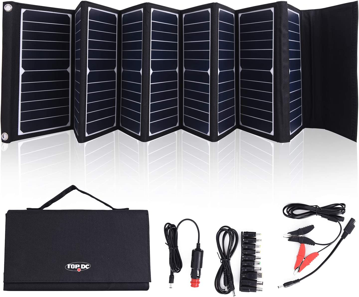 TOPDC 60W High Efficiency 22 Solar Charger with 5V USB 18V DC Dual Output, with Battery Clamps and Car Charger for Laptop Tablet GPS Cellphone,Car, Portable Solar Power Charger for Camping Outdoors