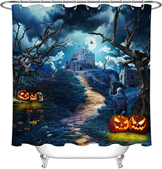 Details about  /Halloween Night Spooky Pumpkins Witch Hat Waterproof Fabric Shower Curtain Set