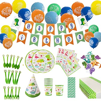 Dinosaur Party Supplies for Boys Kids Dino Themed Birthday Decorations Set Includes Plates Cups Napkins Straws Utensils Table Cover Banner & Balloons 142 PCS Serves 12 Guests: Kitchen & Dining