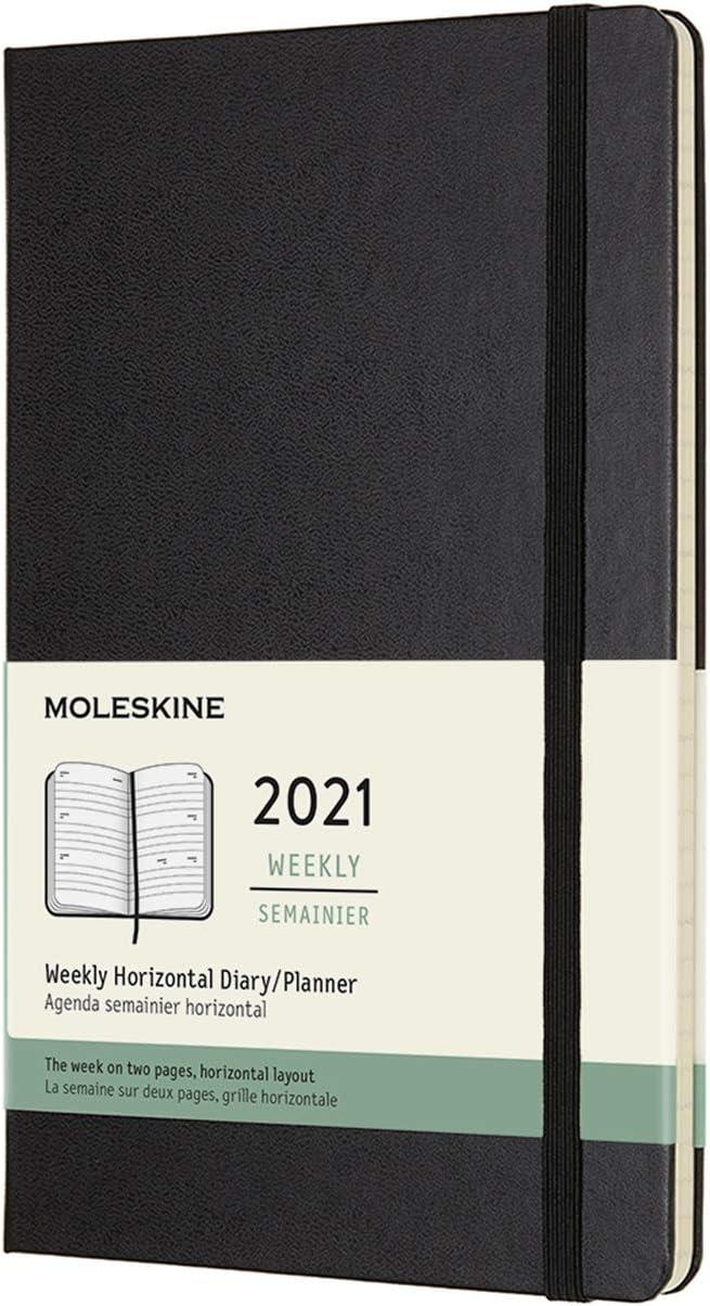 Moleskine - Agenda Semanal 2021, Agenda de 12 Meses, Planificador Horizontal con una Semana en dos Páginas, Tapa Dura, Tamaño Grande de 13 x 21 cm, Color Negro, 144 Páginas