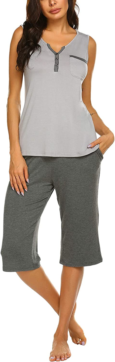 Ekouaer Womens Pajama Set Tank with Capri Pants Pjs Sleepwear Sets S-XXL