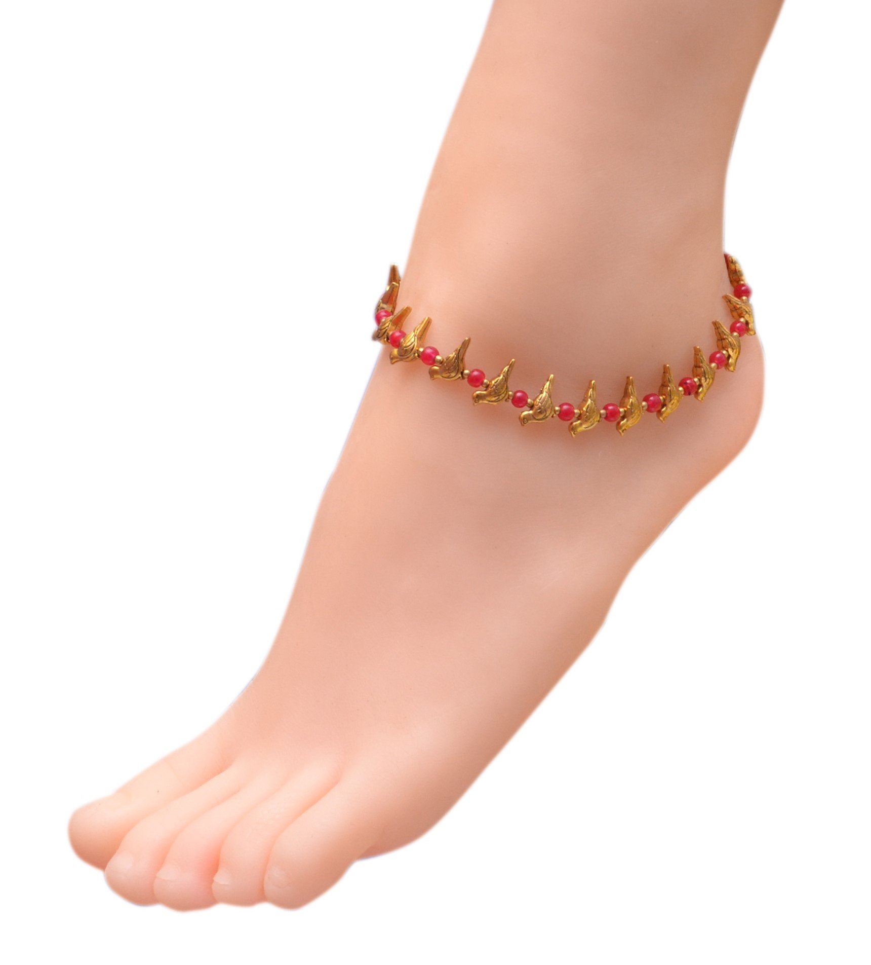 Sansar India Oxidized Bird Beads Indian Anklet Jewelry for Girls and Women