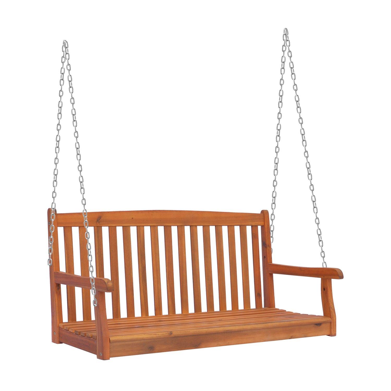 Outsunny Hängebank Gartenschaukel Hollywoodschaukel 2-Sitzer mit Ketten Holz Braun B122 x T61 x H59cm