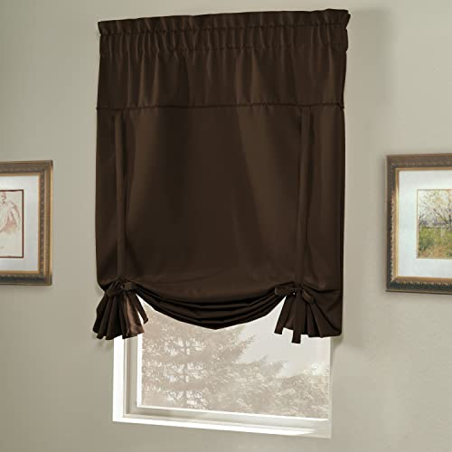 American Curtain and Home Solid Blackout Tie-Up Shade, 40-Inch by 63-Inch, Chocolate