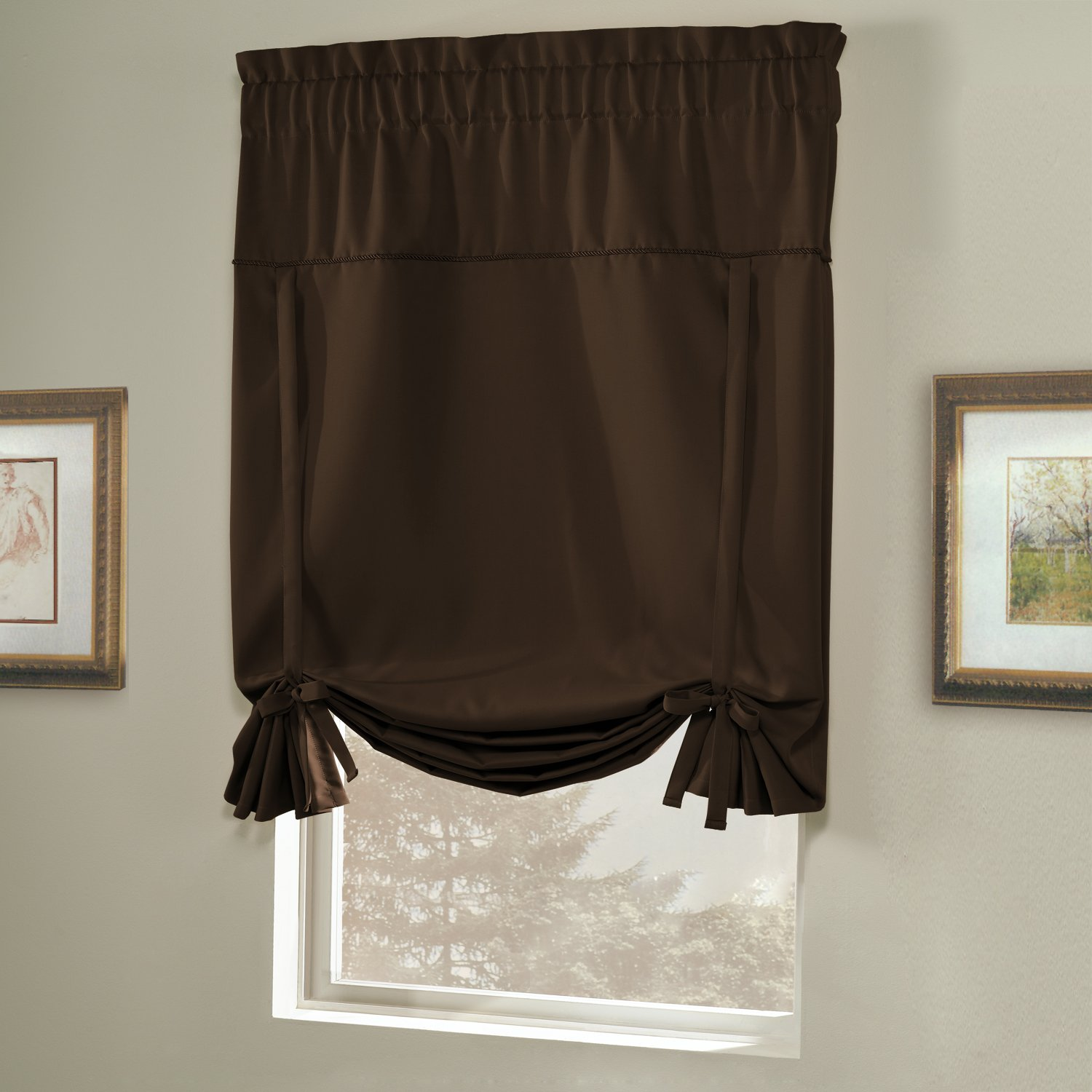 Ho how to tie balloon curtains - Amazon Com United Curtain Blackstone Blackout Tie Up Shade 40 By 63 Inch Chocolate Home Kitchen