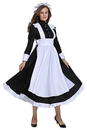 d0eeaac3e29 KOGOGO Victorian Maid Costume Colonial Women Dress with Apron