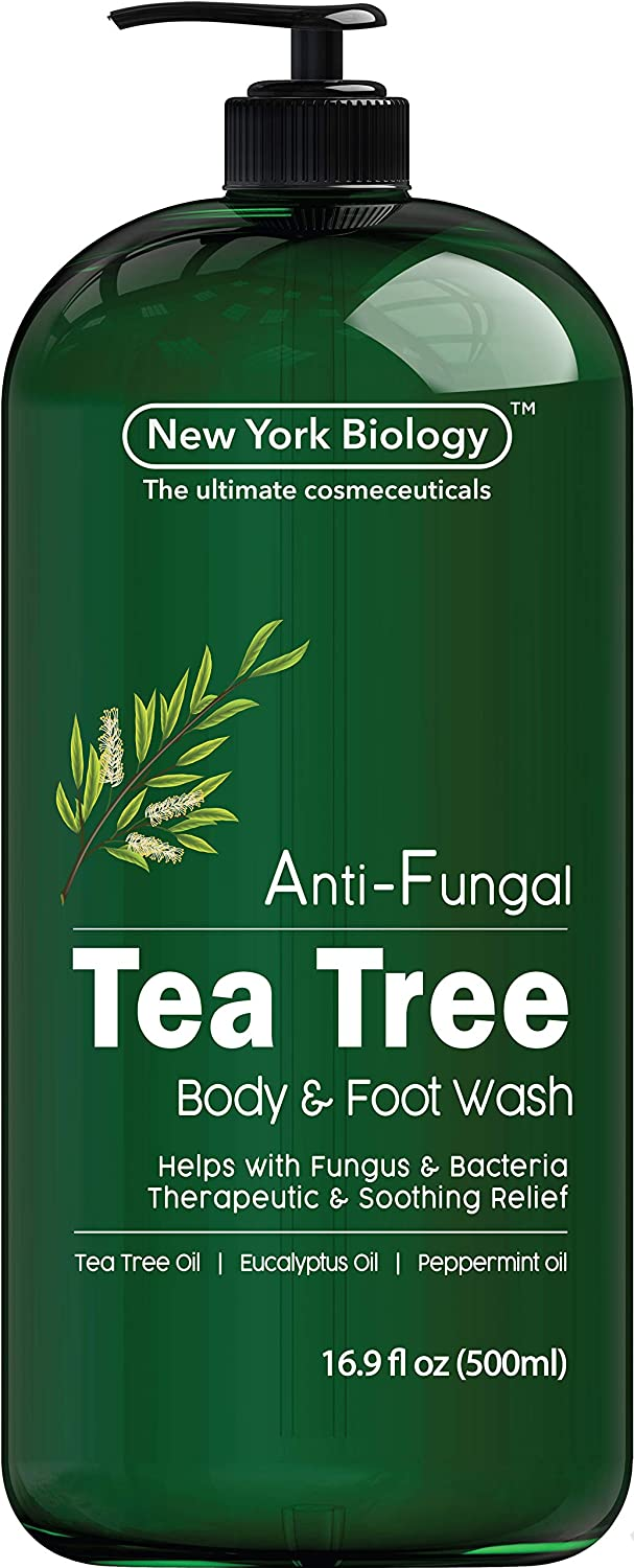 Antifungal Tea Tree Body Wash - HUGE 16 OZ - Helps Nail Fungus, Athletes Foot, Ringworms, Jock Itch, Acne, Eczema & Body Odor, Soothes Itching & Promotes Healthy Skin and Feet