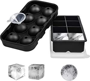 ONEHERE 2 PCS Large Premium Ice Cube Trays, Silicone Square Ice Cube Molds with Lids, Sphere Ice Ball Maker, for Whiskey, Cocktail, Bourbon, Chilled Drinks, Food, Reusable BPA Free Safe Ice Trays