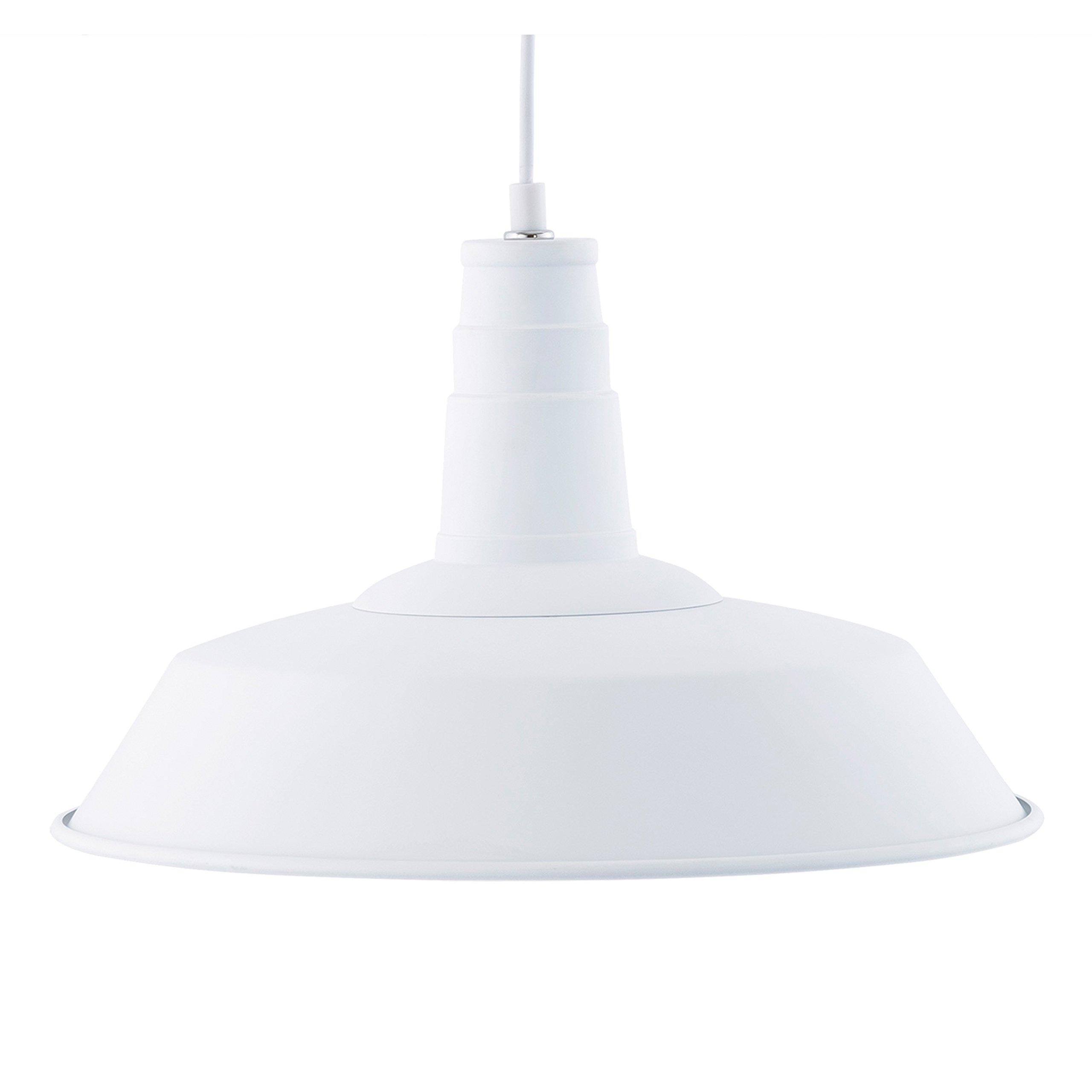Light Society Kress Pendant Light, Matte White Shade with White Interior, Vintage Modern Industrial Farmhouse Lighting Fixture (LS-C199-WHI)