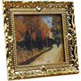 Sungpunet Dollhouse Miniature 1:12 Frame Autumn Woods Mural Wall Painting