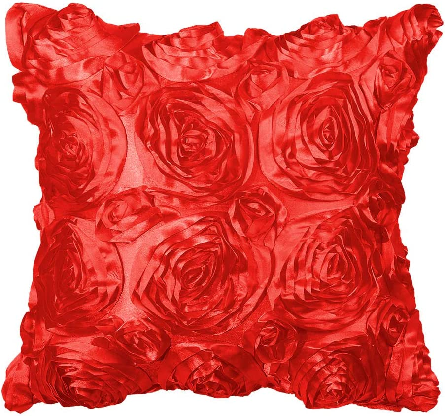Amazon Com Piccocasa 3d Satin Rose Flower Throw Pillow Cover Shells Arts Decorative Pure Color Roses Floral Cushion Covers For Couch 16 X 16 Orange Home Kitchen