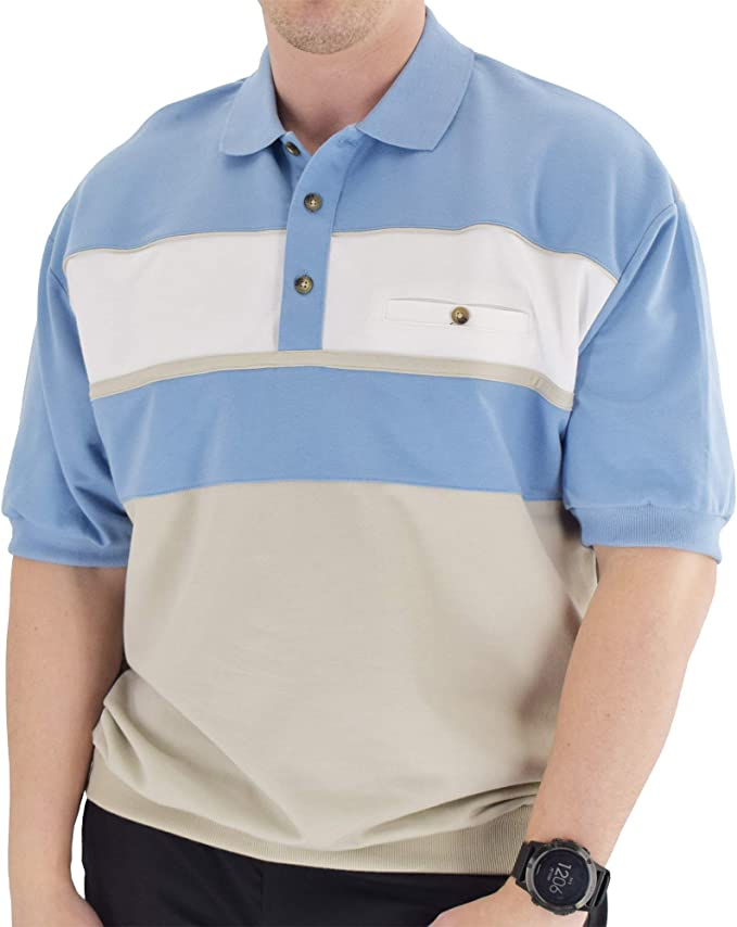 Mens Vintage Shirts – Casual, Dress, T-shirts, Polos Classics by Palmland Horizontal French Terry Knit Banded Bottom Shirt Blue Hht $27.99 AT vintagedancer.com