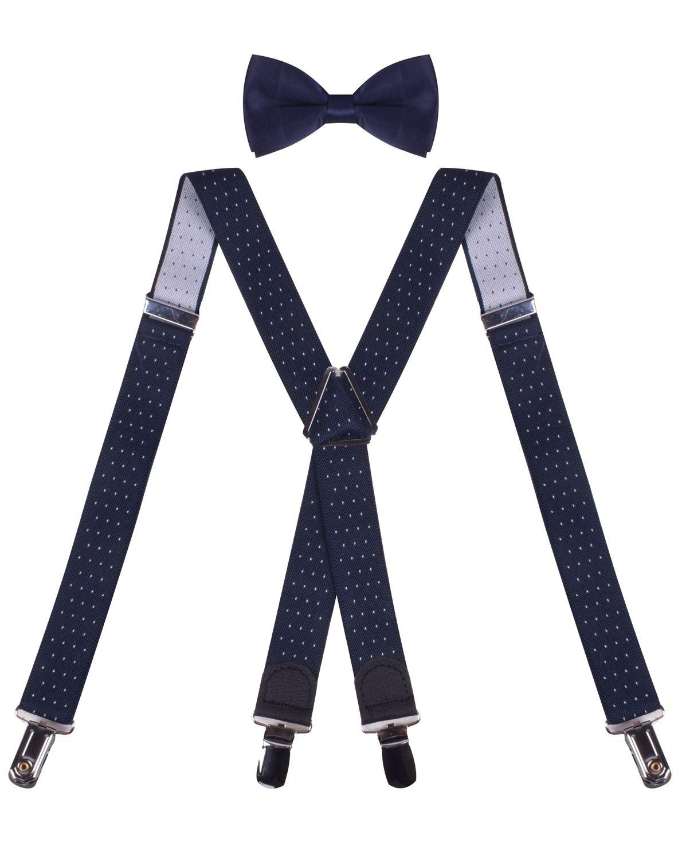 e092c6e6019a Galleon - X Back Navy Blue Suspenders Kids Adjustable Navy Blue Suspenders Bow  Tie Set