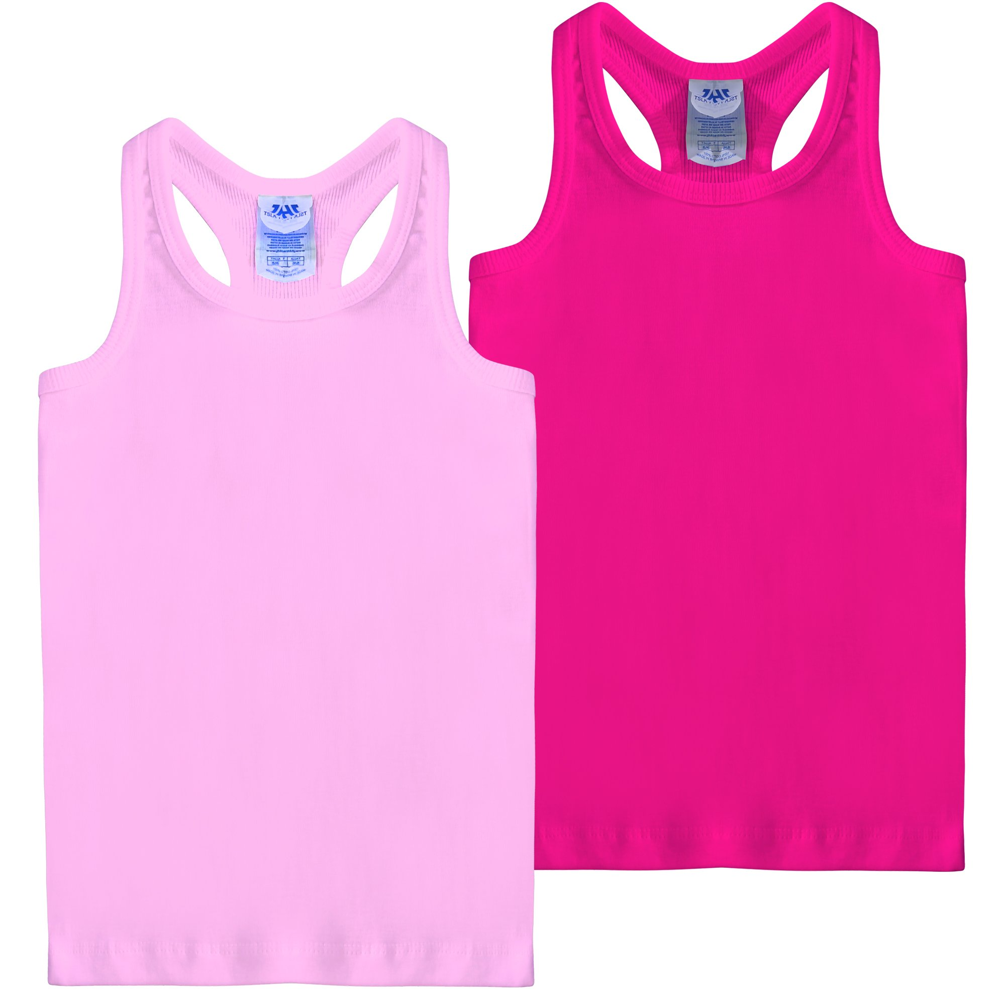 FRESH TEE Girls' Racer Back Tank Top Tunic (Girl 5/6, 2pk Pink/ Fuchsia)