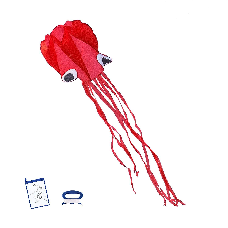 Kizh Large Kite Octopus Easy Flyer KiteフレームレスソフトParafoil凧for Kids 157インチ長の大人のビーチ公園庭Playgroundアウトドア楽しい(レッド) B07DCNDVG7