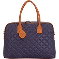 Tribe Baiga - Blue and Tan Quilted Leather Laptop Bag