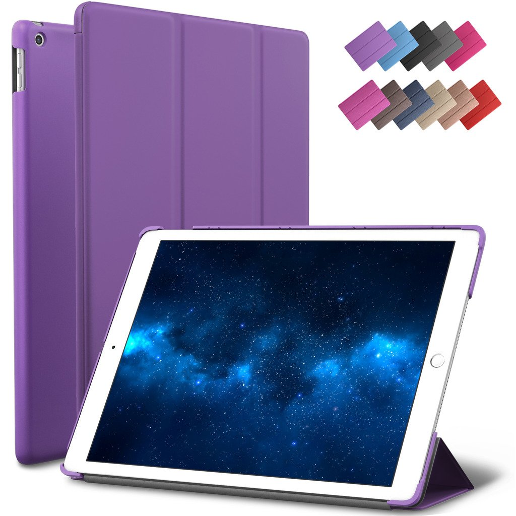New iPad 9.7-inch 2018 2017 Case, ROARTZ Purple Slim-Fit Smart Rubber Folio Case Hard Cover Light-Weight Wake Sleep for Apple iPad 5th 6th Generation Retina Model A1893 A1954 A1822 A1823