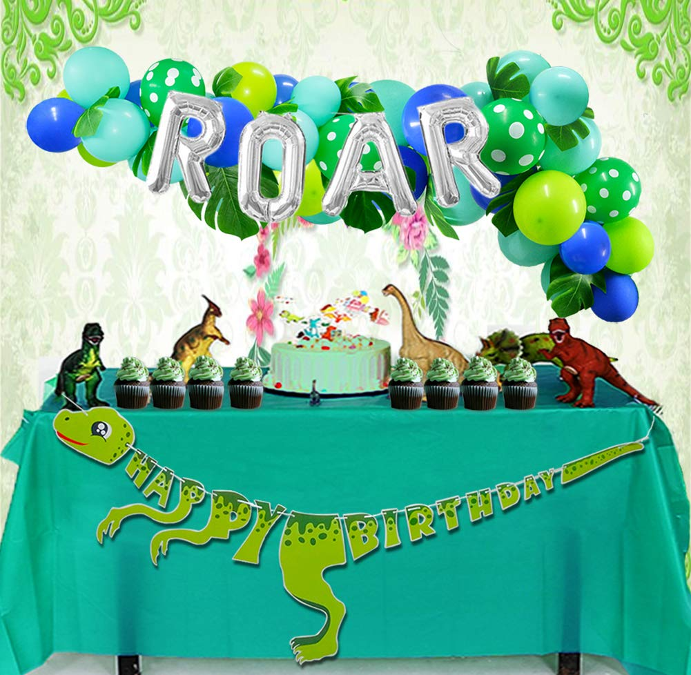 Dinosaur Party Decorations Dinosaur Balloons Garland ROAR Balloon Dino Happy Birthday Banner Tropical Palm Leaves Imitation Leaf Green CREATEASY