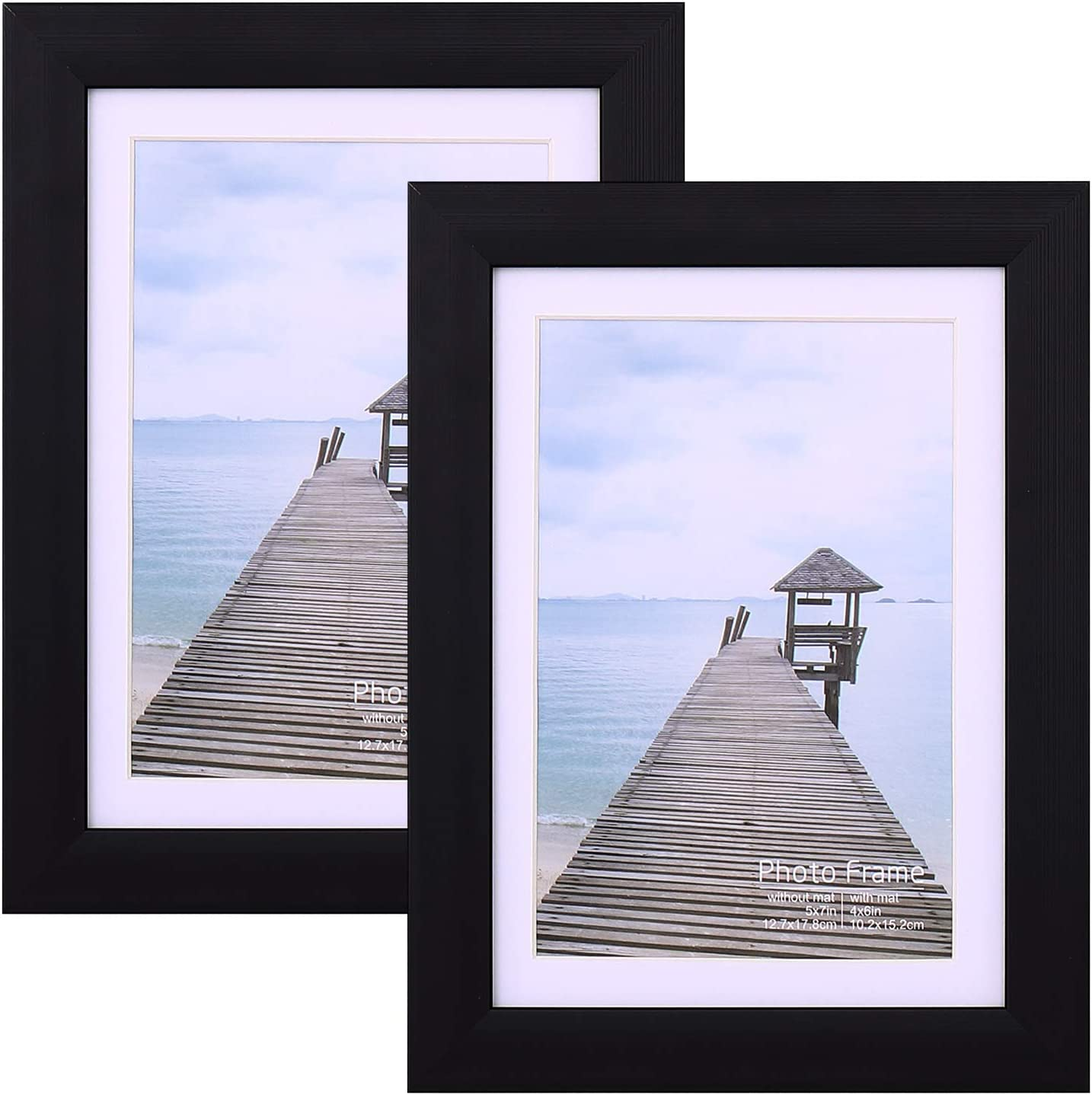 Plastic 5x7, Set of 2 Picture Frame for Wall Mounting or Tabletop with High-Definition Glass, Black Photo Frame for Home Living Room Decor Friends Gifts