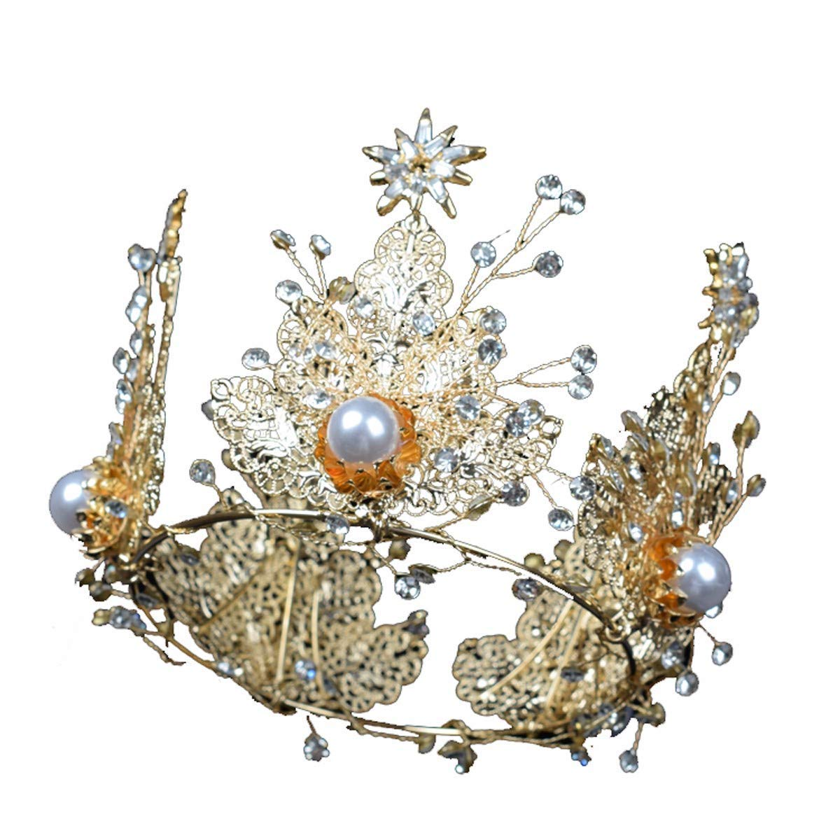 Wedding Crown, Beautiful headdress/Baroque Golden Crown Romantic Wedding Bridal Headwear Crystal Crown Queen'S Birthday Stage Wedding Jewelry.
