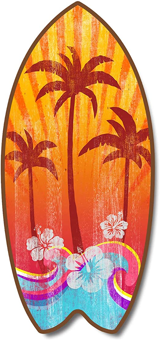 how to decorate with tropical colors home decor ideas.htm amazon com weathered tropical palm tree mini surfboard plaque  tropical palm tree mini surfboard