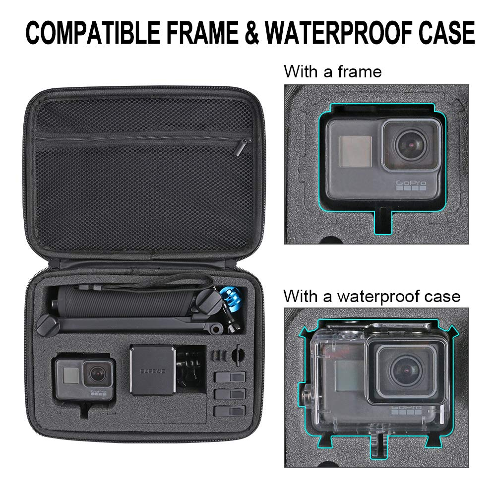 Small //6//5 Black,Session 5//4,Hero 3+,DJI Action Camera and More- Perfect for Travel and Storage Small Carrying Case Protective Storage Bag Compatible with GoPro Hero 7// 2018