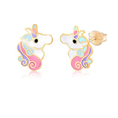 3133a1a4d29fc MASSETE 14k Yellow Gold Stud Earrings Unicorn Colorful Enamel for Children  and Girls